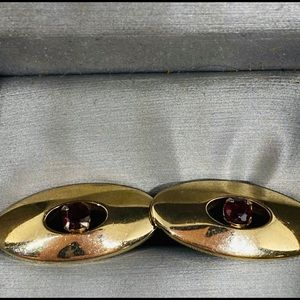 Vintage swank cufflinks gold tone red stone retro